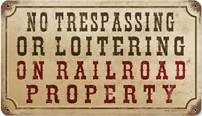 No Trespassing Or Loitering On Railroad Property Vintage Metal Sign