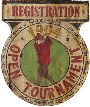 Personalized, Golf Tournament Registration Antiqued Wood Sign