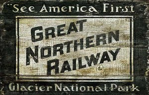 Great Northern Railway Antiqued Wood Sign