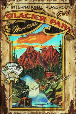 Personalized, Glacier Park Montana Antiqued Wood Sign