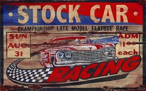 Personalized, Stock Car Racing Antiqued Wood Sign