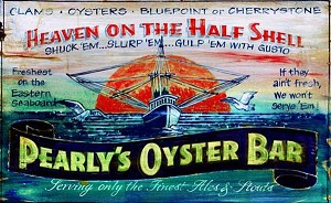Personalized, Pearly's Oyster Bar Antiqued Wood Sign
