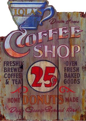 Lola's Coffee Shop Antiqued Wood Sign