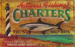 Personalized, Hatteras Fishing Charters Antiqued Wood Sign