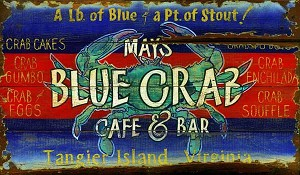 Personalized, Mays Blue Crab Cafe and Bar Antiqued Wood Sign