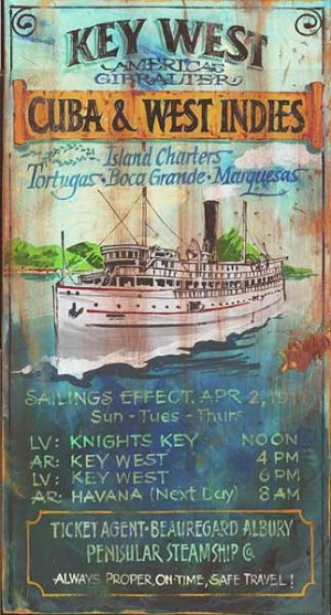 Key West Charters Antiqued Wood Sign