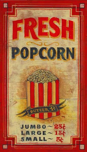 Personalized, Fresh Popcorn Antiqued Wood Sign