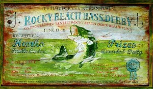 Personalized, Rocky Beach Bass Derby Antiqued Wood Sign