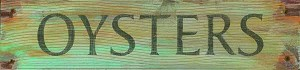 Oysters Word Antiqued Wood Sign
