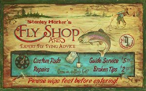 Personalized, Harker's Fly Fishing Shop Antiqued Wood Sign