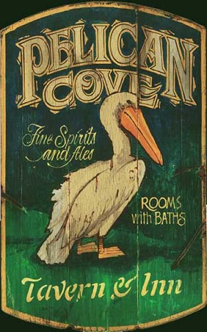 Personalized, Pelican Cover Tavern and Inn Antiqued Wood Sign
