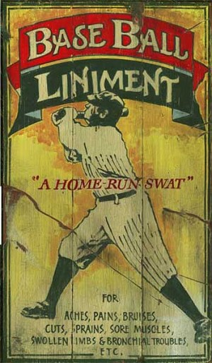 Personalized, Baseball Liniment Antiqued Wood Sign