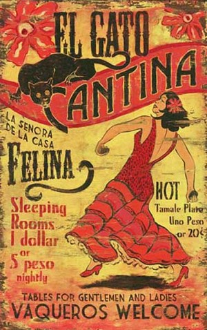 Personalized, El Gato Cantina Antiqued Wood Sign