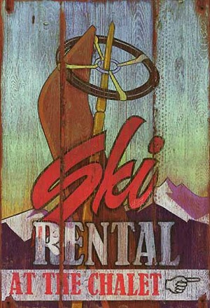 Personalized, Ski Rental At The Chalet Antiqued Wood Sign