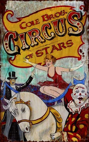 Circus Rider Vintage Antiqued Wood Sign