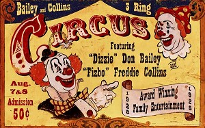 Dizzie Clowns Vintage Antiqued Wood Sign