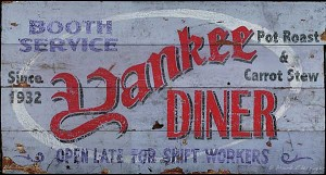 Personalized, Yankee Diner Antiqued Wood Sign