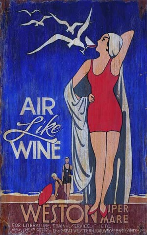 Personalized, Air Like Wine Weston Antiqued Wood Sign