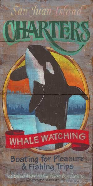 Whale Watching Antiqued Wood Sign