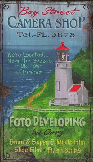 Florance Lighthouse Bay Street Camera Shop Antiqued Wood Sign