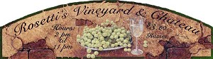 Rosett's Vineyard and Chateau Antiqued Wood Sign