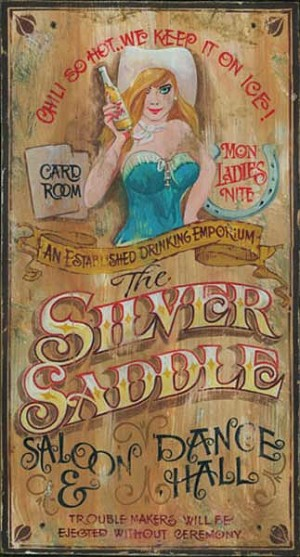 Personalized, The Silver Saddle Saloon and Dance Hall Antiqued Wood Sign