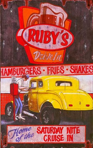 Personalized, Rubys Drive In Vintage Antiqued Wood Sign