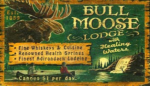 Personalized, Bull Moose Lodge Antiqued Wood Sign