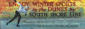 Personalized, Winter Sports South Shore Line Antiqued Wood Sign