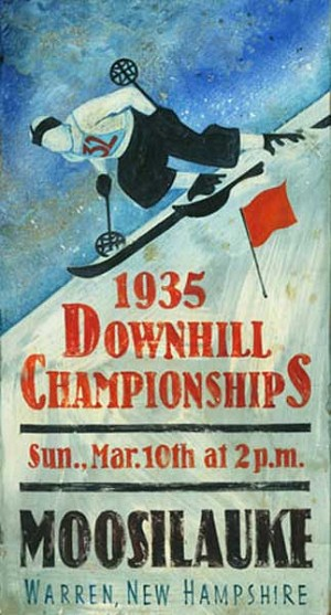 Personalized, Downhill Championships Moosilauke Antiqued Wood Sign