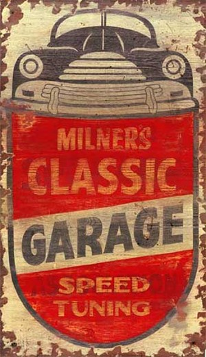 Personalized, Milners Classic Garage Speed Tuning Antiqued Wood Sign