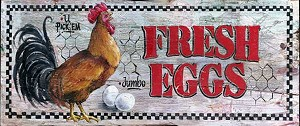Fresh Eggs Rooster Antiqued Wood Sign