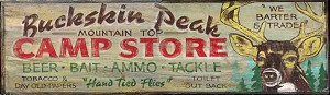Personalized, Buckskin Peak Camp Store Antiqued Wood Sign