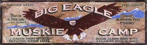 Personalized, Big Eagle Muskie Camp Wood Sign