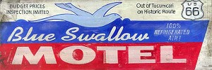 Blue Swallow Motel Antiqued Wood Sign