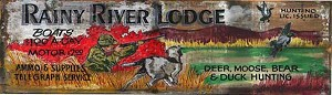 Personalized, Rainy River Lodge Antiqued Wood Sign