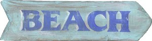 Beach Word Antiqued Wood Sign