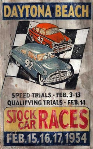 Personalized, Stock Car Races Daytona Beach Antiqued Wood Sign