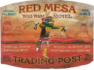 Personalized, Red Mesa Wig Wam Motel Trading Post Antiqued Wood Sign