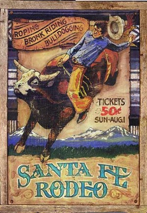 Personalized, Santa Fe Rodeo Vintage Antiqued Wood Sign