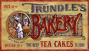Trundles Bakery Antiqued Wood Sign
