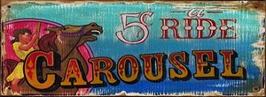 Personalized, Carousel Ride Antiqued Wood Sign