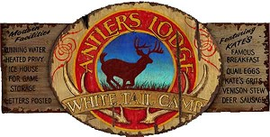 Antlers Lodge White Tail Camp Antiqued Wood Sign