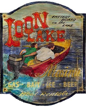 Speed Boat Loon Lake Antiqued Wood Sign