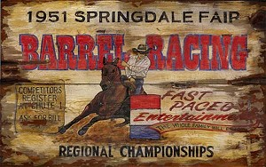 Personalized, Barrel Racing Springdale Fair Rodeo Antiqued Wood Sign