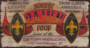Personalized, Cajun Food Antiqued Wood Sign