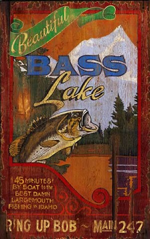 Personalized, Beautiful Bass Lake Antiqued Wood Sign