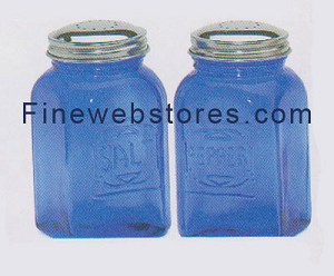 Blue Depression Glass Salt and Pepper Shakers Square