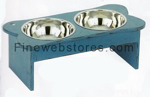 Large Antique Blue Pet Feeder
