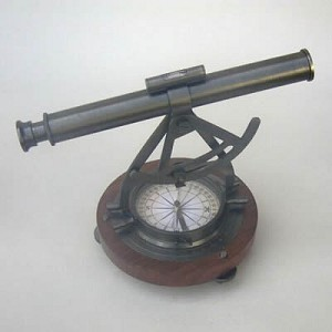 Alidate Theodolite Compass, Wooden Base